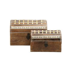 Benzara Unique And Distinctive Wood Metal Box Set Of 2