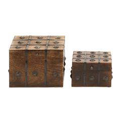 Benzara Timelessly Classic Wood Metal Box Set Of 2