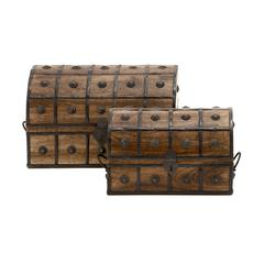 Benzara Treasure Trove Wood Metal Box Set Of 2