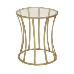 Benzara Shining Aluminum Glass Gold Accent Table