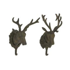 Stylish Aluminum Deer Head Hook 2 Assorted