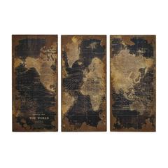Assorted Map Wood Wall Panels Set Of Three