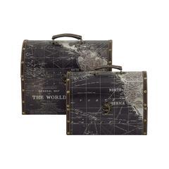 "Modern Art Wood Faux Leather Box Set Of 2 11"", 13""W"