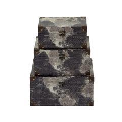 """Benzara Stylishly Designed Wood Faux Leather Box Set Of 3 14"""", 16""""W"""