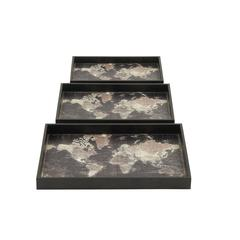 Black Map Design Wood Trays Set Of 3