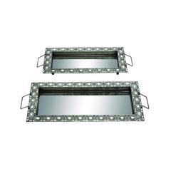 Benzara Set Of Two Sleek And Stylish Metal Mirror Trays With Handles