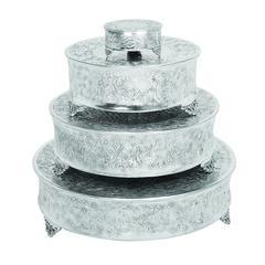Benzara Aluminum Cake Stand Set Of 4 For Stylish Host