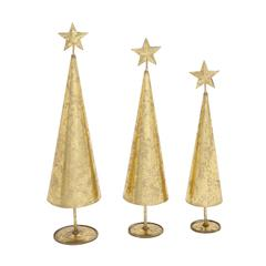 Benzara Glittering Set Of 3 Metal Xmas Tree
