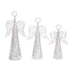 Benzara Silver Sparkly Set Of 3 Christmas Angels