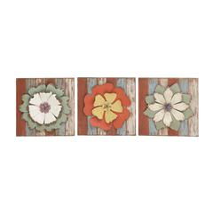 Antique Styled Floral Wood Metal Wall Decor 3 Assorted