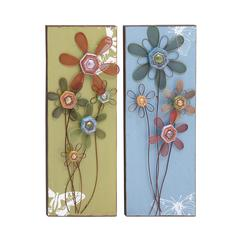 Benzara Lovely Floral Themed Assorted Set Of Two Wall Panel