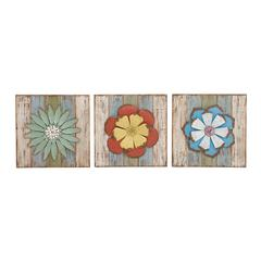 Benzara Lovely And Lively Wood Metal Wall Decor 3 Assorted