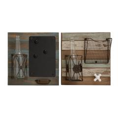 Benzara The Useful Wood Metal Glass Wall 2 Assorted