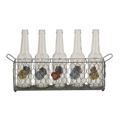 Benzara Stylish And Unique Mesh Patterned Glass Bottle Holder