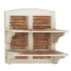 Benzara Double Decker Cool Wood Wall Shelf
