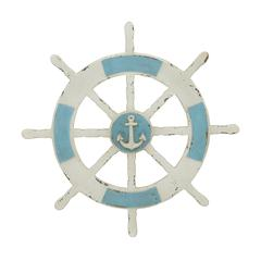 Antique Themed Wooden Ship Wheel Wall Decor