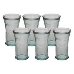 "Enticing Set Of Six Glass Coca Cola 4""W, 6""H"