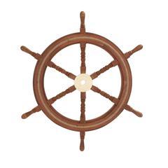 Benzara Customary Styled Wood Brass Ship Wheel