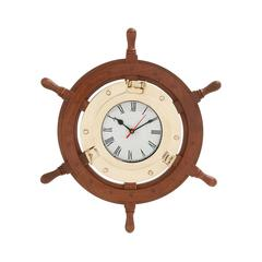 Benzara Beautiful Styled Wood Brass Ship Wheel Clock