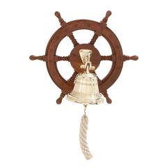 Customary Styled Attractive Wood Ship Wheel Bell