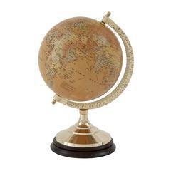Benzara Timeless Brass Wood Pvc Globe