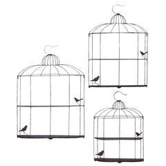 Benzara Bird Cage Design Metal Shelf In Metallic Silver Finish - Set Of 3