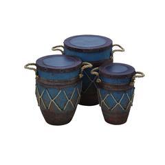 Benzara Metal Container Set Of Three Pots In Traditional Oriental Design