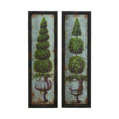 Antique Metal Wood Wall Décor 2 Assorted