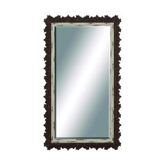 Wood Wall Mirror With Unique Jagged Edged Border
