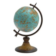 Benzara Antique Metal Globe In A Rustic Design