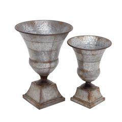 Benzara The Nostalgic Set Of 2 Metal Urn
