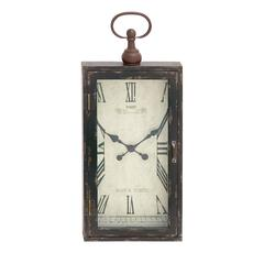 Benzara Mesmerized Chic Styled Wood Metal Wall Clock