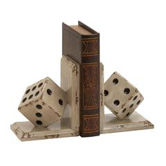 Benzara Classy And Unique Wood Dice Bookend Polyresin