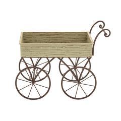 Benzara Ceaselessly Admirable Wood Metal Handcart