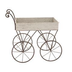 Benzara Simply Cute Wood Metal Handcart