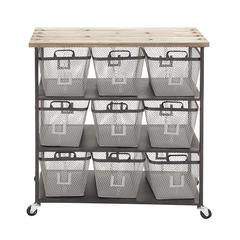Benzara Simply Too Useful Metal Wood Storage Cart