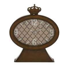 Benzara Vintage Themed Metal Wood Table Clock