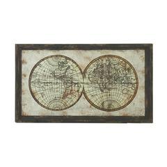 "Benzara Wood Metal Framed Wall Map 39""W, 22""H"