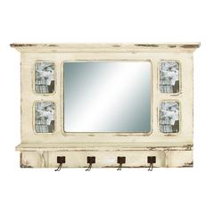 Vintage Appeal Wooden Mirror With Elegant And Rubbed Finish