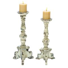 Wooden Candle Holder In Contemporary Rubbed Finish - Set Of 2