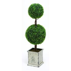 Benzara Polyester Landscape Topiary Boxwood With Artistic Design