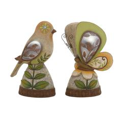 Benzara The Sweetest Polystone Solar Bird Butterfly 2 Assorted