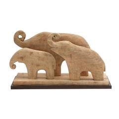 "Benzara Wood Elephant Family 24""W, 14""H"