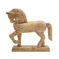 "Classy Wood Carved Horse 19""W, 17""H"