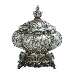 Benzara Attractive Silver Polystone Urn With Intricate Detailing