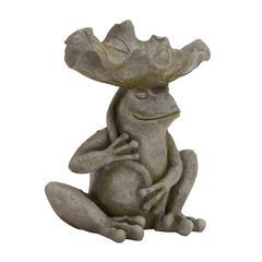 Benzara Creative Styled Classy Polystone Frog Feeder