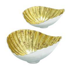 Shell Styled Gorgeous Aluminum Gold Bowl Set/2