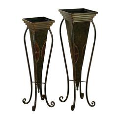 Benzara Metal Planter Set Of 2 For In House Nature Enthusiasts