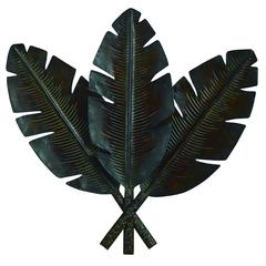 Metal Palm Wall Decor With 3 Distress Palm Leaves