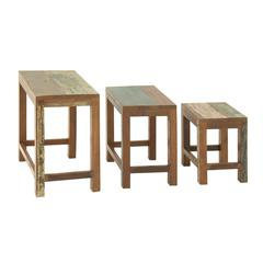 "Simple Wood Nesting Table Set Of 3 20"", 17"", 14""H"